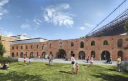 St. Ann's Warehouse breaks ground at the Tobacco Warehouse. Credit:Marvel Architects PLLC