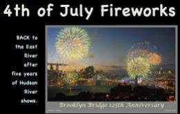 The Macy's annual fireworks show will be set off from the Brooklyn Bridge and barges on the East River this year, the first time the bridge will be used since the 2008 125th Birthday Anniversary celebration.