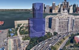 Rendering of the development sizes slated for Pier 6 at the foot of Cobble Hill