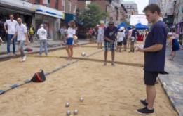 Creating the Petanque Courts on Smith Street is a sight to behold. ©Mark D Phillips