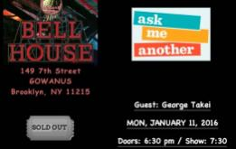 Ask Me Another presents George Takei live at The Bell House in Gowanus on Monday, January 11, 2016.