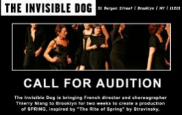 The Invisible Dog is bringing French director and choreographer Thierry Niang to Brooklyn for two weeks to create a production of SPRING