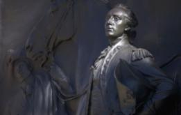ten-foot-high bronze relief of Marquis de Lafayette