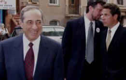 Mario Cuomo with Bill deBlasio and Andrew Cuomo outside an Italian social club on Henry Street in Carroll Gardens, Brooklyn. ©Mark D Phillips