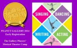 The Gallery Players began The Peanut Gallery in the summer of 2005, a musical theater performance workshop for kids and teens. Early registration is now available for the 2014 summer camp.
