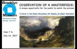 The Brooklyn Museum will be conducting public preservation on A Storm in the Rocky Mountains, Mt. Rosalie by Albert Bierstadt from June 7 to July 16, 2017.
