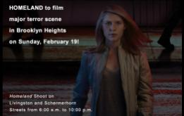 Showtime's HOMELAND television show's plans for a huge gun battle, exploding SUVs, soldiers and presidential motorcade on Sunday, February 19, in the heart of Brooklyn Heights.