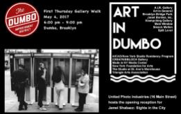 On May 4, 2017, the galleries of DUMBO celebrate FIRST THURSDAY by staying open late, hosting special events and receptions.