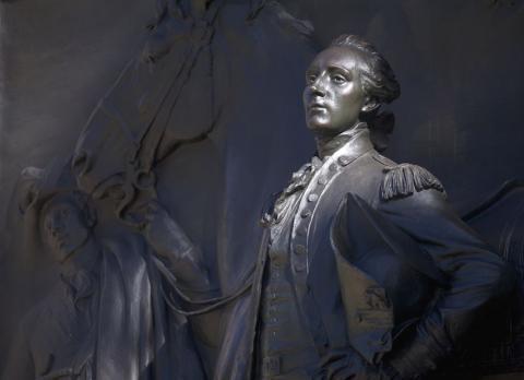 ten-foot-high bronze relief of Marquis de Lafayette